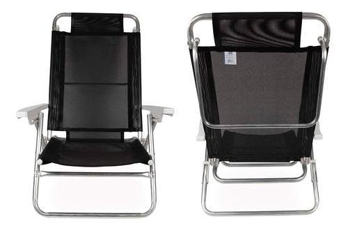 cadeira reclinável 6 posições summer alumínio praia - mor