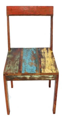 cadeira reta natural 43x46x90 em madeira de demolição