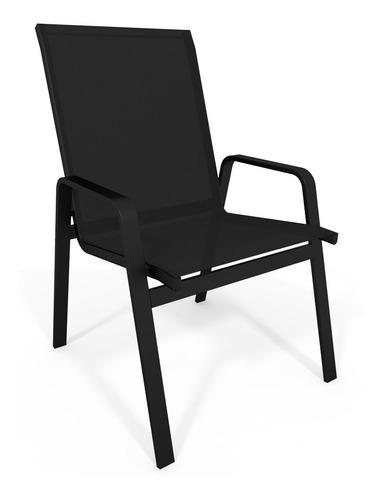 cadeira riviera piscina praia alumínio preto tela preto