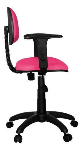 cadeira secretária giratória couro eco rosa com braço