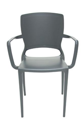 cadeira sofia encosto fechado grafite c/ braço  tramontina