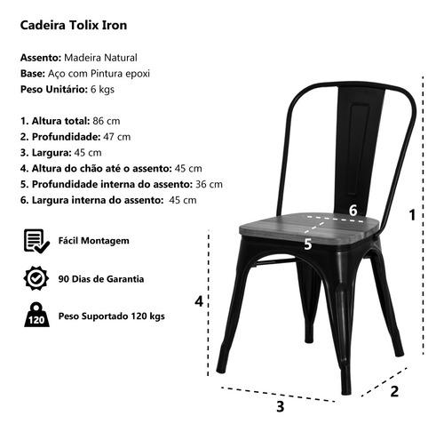 cadeira tolix iron assento madeira aço industrial