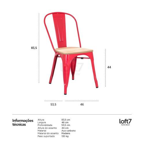 cadeira tolix  iron assento madeira aço metal vermelho