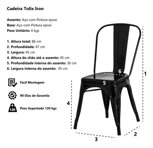 cadeira tolix iron design metal