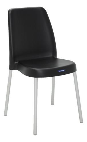 cadeira tramontina vanda preta com pernas de aluminio