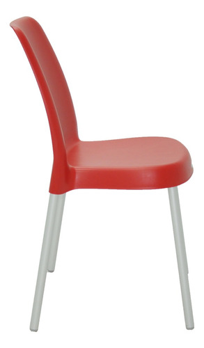 cadeira tramontina vanda vermelha com pernas de aluminio