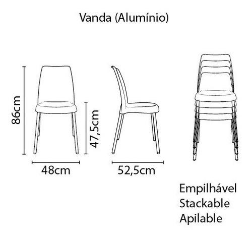 cadeira vanda tramontina preta plastica pernas alumínio