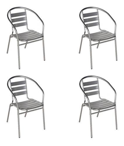 cadeiras alumínio mor para jardim áreas externas 4 unidades