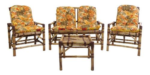 cadeiras de área 4 lugares de bambú