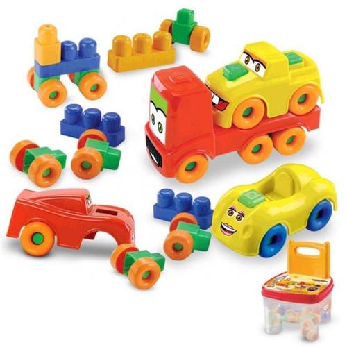 cadeirinha com bloco de montar carros 15 peças mk 199 - dis