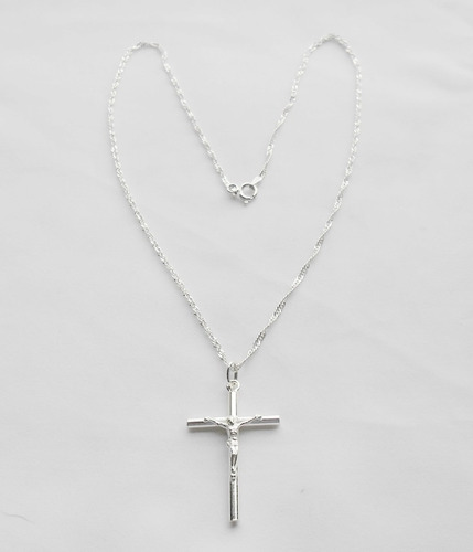 cadena 45 cms + cristo de plata 925 excelente calidad