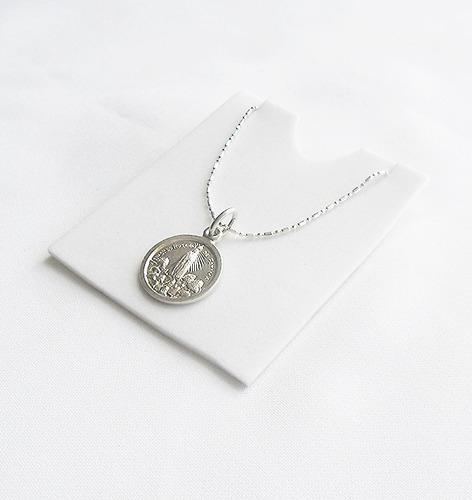 cadena 50 cms + medalla virgen de fatima plata 925 calidad