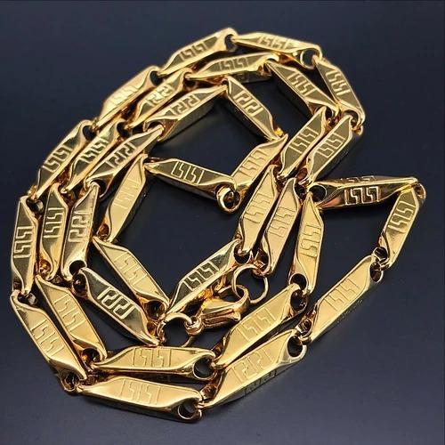 cadena acero acero hombre color oro 18k collar gratis envio