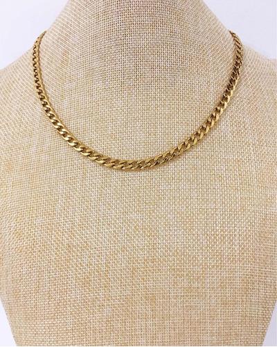 cadena acero quirúrgico dorado 316l. 75cm única! para hombre