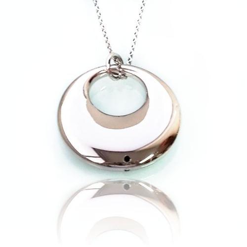 cadena aéreo frisbee:: plata blanca
