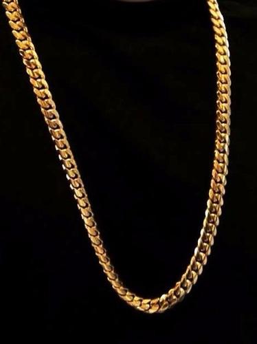 cadena barbada oro 24k (chapa) 60cm. pesa 25grs 6mm. ancho
