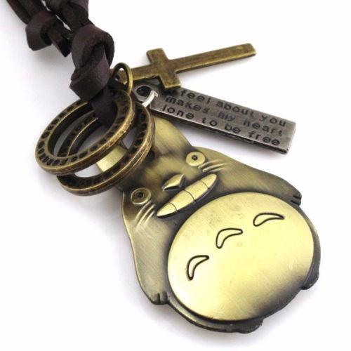 cadena collar bronze de gato collar de cuero vintaje
