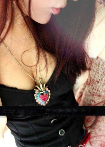 cadena collar con bonito dije de corazon