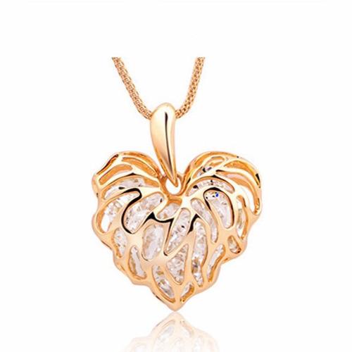 cadena collar dije corazon dorado elegante