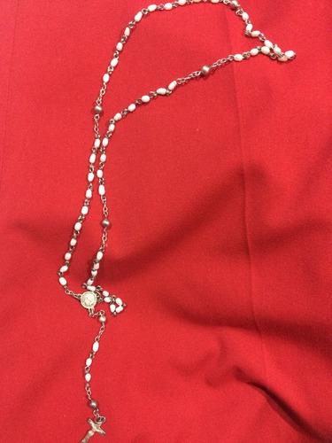 cadena collar rosario plata mujer