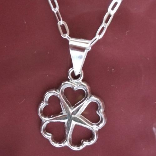 cadena con dije amor 5 corazones totalmente plata ley .925