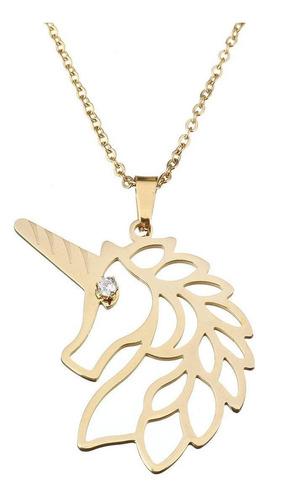 cadena con dije unicornio dorado acero inox envio rapido