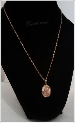 cadena con medallas san benito oro laminado 18k