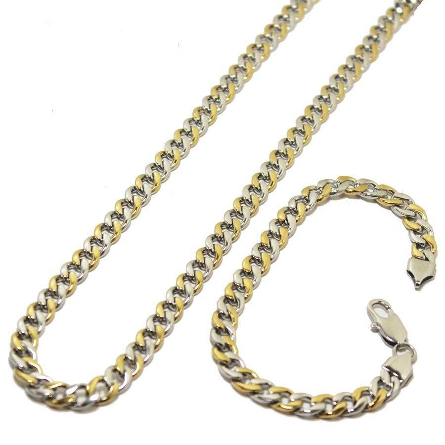 01e0453be001 cadena con pulsera de acero inoxidable para hombre oro plata. Cargando zoom.
