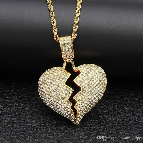 cadena con strass iced out corazon roto hip hop trap