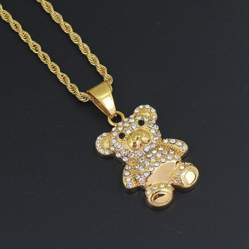 cadena con strass iced out oso teddy bear hip hop trap