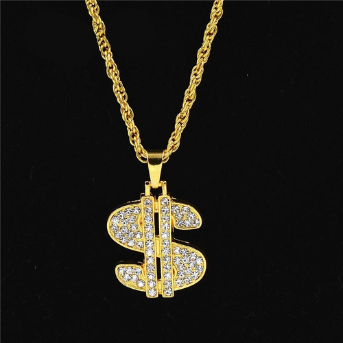 cadena con strass iced out signo dolar sign hip hop trap n°2