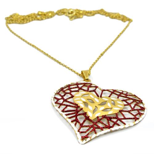cadena corazón bi-tono :: plata roja y amarilla