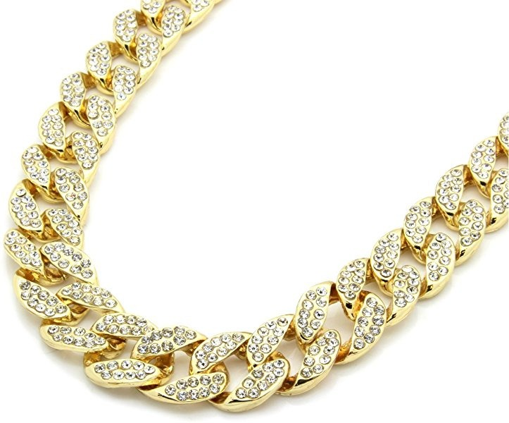 e114cb718986 Cadena Cubana Con Diamantes Artificiales 60 Cm Hiphop Dorada