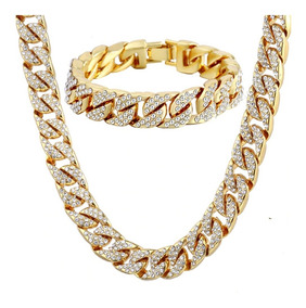 8b5f9a10d1ef Cadena Cubana Set Esclava Diamantada Iced Out Oro Hip Hop