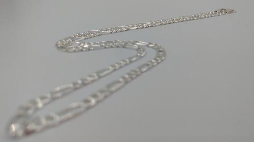 cadena d plata fina 925 tejido 3*1 hombre mujer unisex 55cm