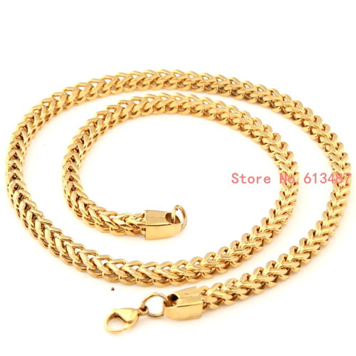 cadena de acero inox dorada tejido figaro doble 60cm x 6mm