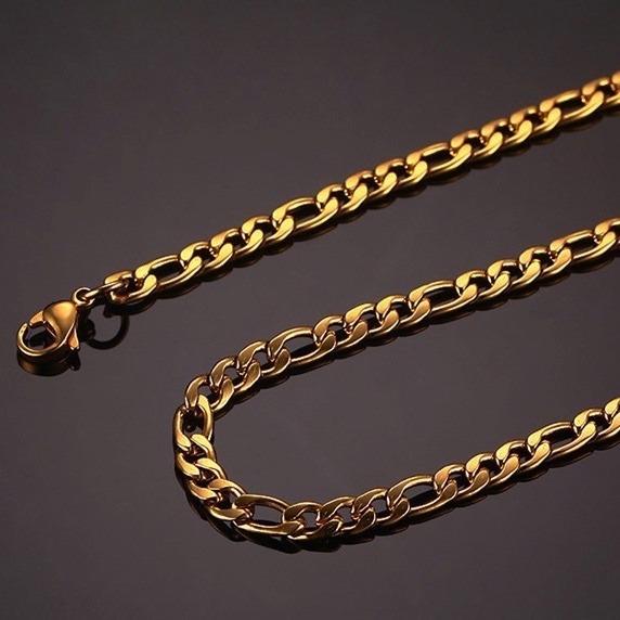 cadena de acero inoxidable dorada para hombre 6mm x 76cm