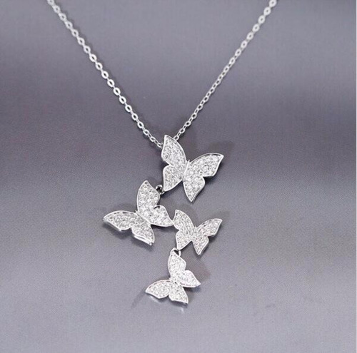 cadena de plata 925 de mariposas