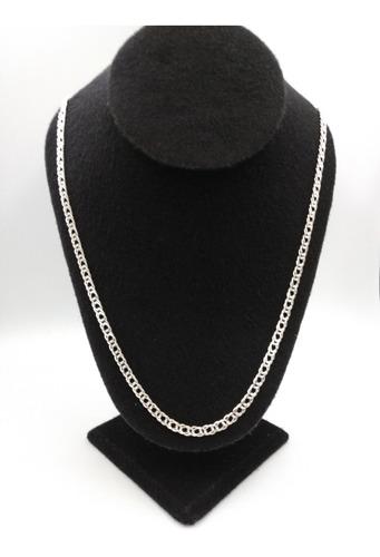 cadena de plata fina 925 caballero tejido doble hombre 50cm