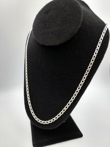 cadena de plata fina 925 caballero  tejido doble hombre 55cm