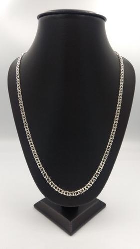 cadena de plata fina 925 caballero tejido doble hombre 60cm
