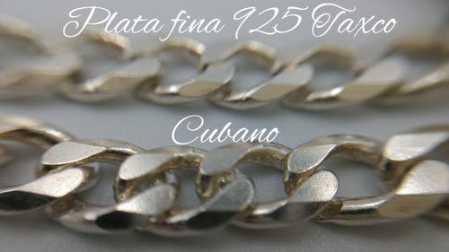 cadena de plata fina .925 cubano caballero taxco hombre 60cm