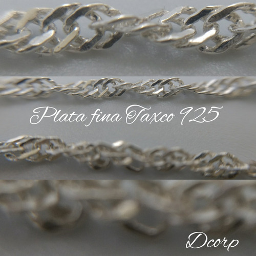 cadena de plata fina 925 dama torsal torzal para mujer 50cm