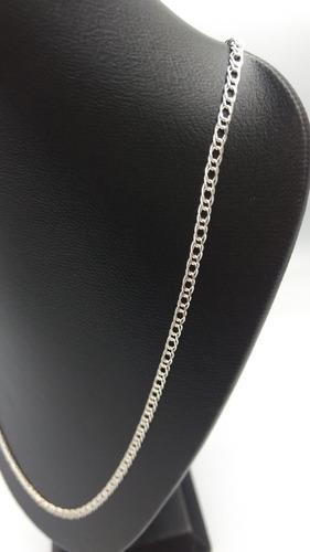 cadena de plata fina 925 tejido doble - unisex 70cm