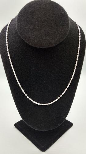 cadena de plata fina .925 torzal torsal dama para mujer 50cm