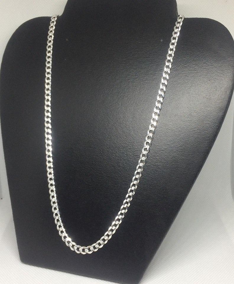 cadena de plata ley 925 cv57 tejido cubano 19grs60cmx4 5mm