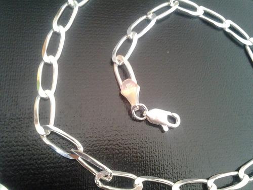 cadena de plata solida estilo bilbao 60 cms 1/2 cm de grosor
