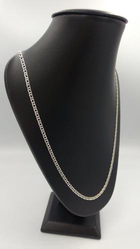 cadena de pura plata fina 925 tejido doble 65cm 3mm unisex