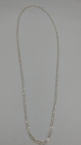 cadena de pura plata fina ley .925 50cm x 3mm tejido torzal