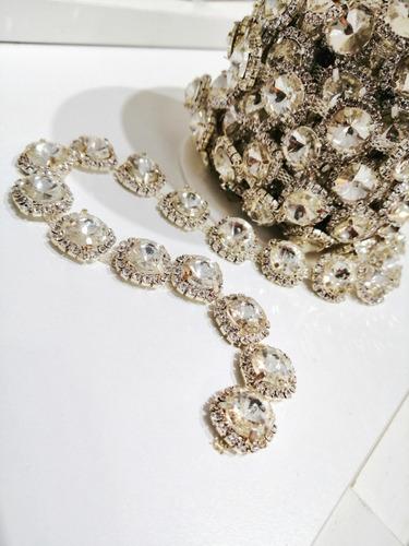 cadena de strass y piedras - apliques para vestidos - joyas
